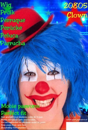 Blauwe pruik clowny