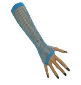 Nethandschoenen lang vingerloos blauw
