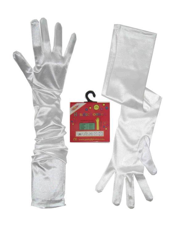 Handschoenen satijn stretch wit