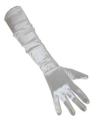 Handschoenen satijn wit 48 cm