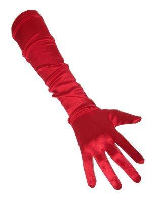 Handschoenen satijn rood 48 cm