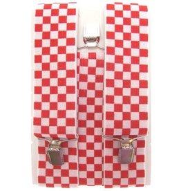 Bretels rood/wit geblokt