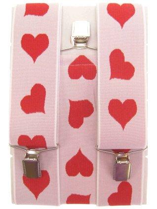 Bretels wit met rode hartjes