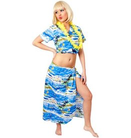 Hawaii set dames palmboom blauw