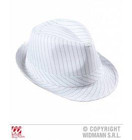 Witte hoed met grijze strepen