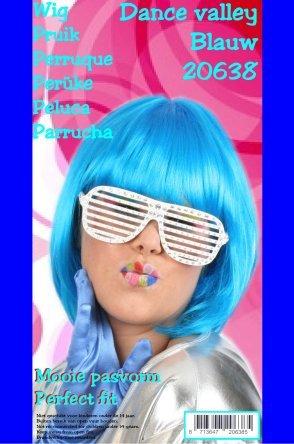 Boblijn pruik blauw