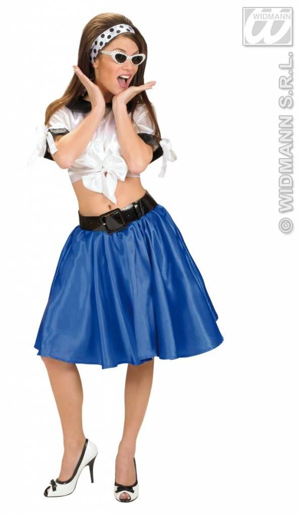 Blauw satijnen rokje met petticoat