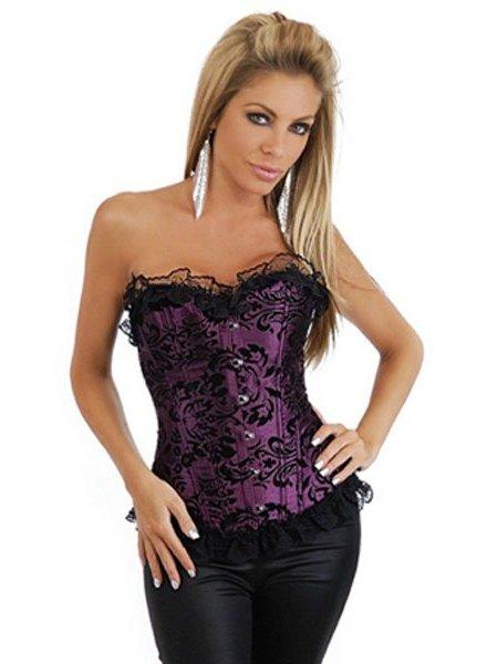 Paars corset met bloemenpatroon en roesjes
