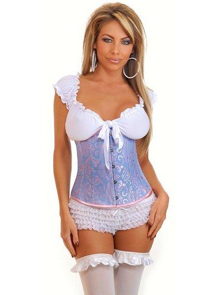 Blauw underbust corset met motief