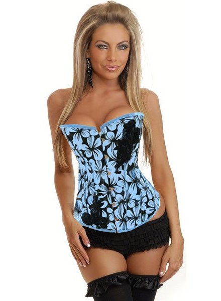 Zwart met blauw bloemen patroon corset