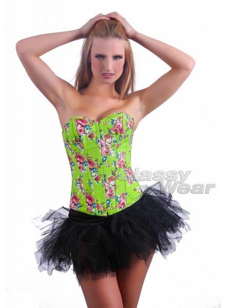 Groen gebloemd corset