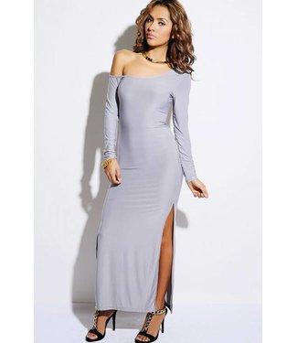 Lange zilvergrijze jurk met split