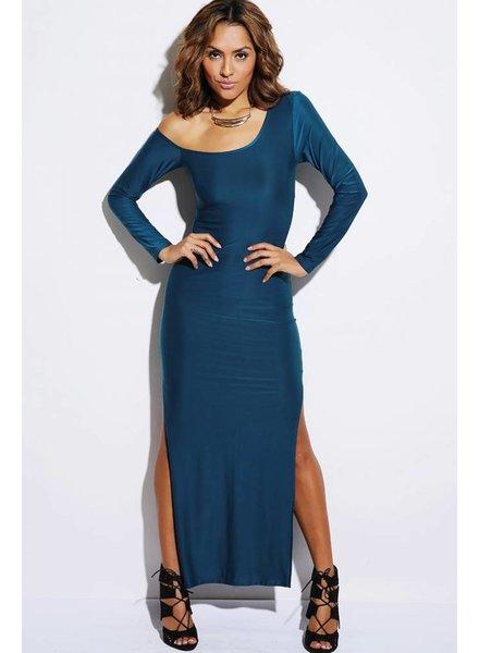Lange blauwe jurk met split