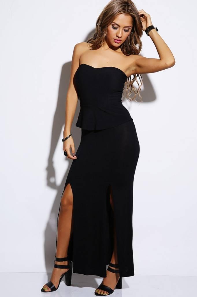 Voorkeur Lange zwarte jurk met bustier top - ClassyWear PW67