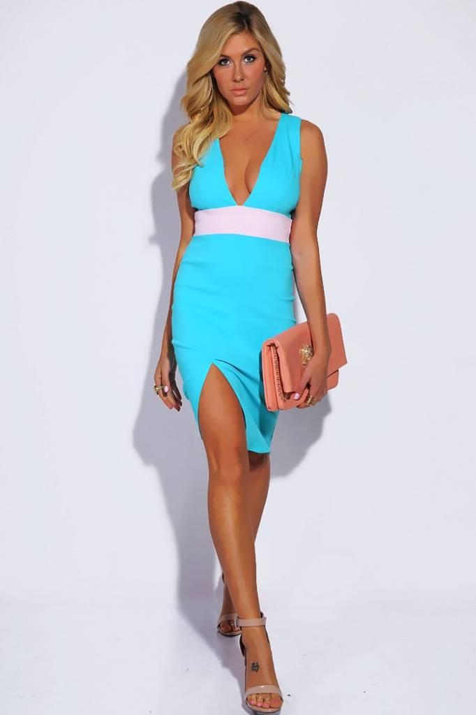 Aqua blauw/roze deep V jurkje