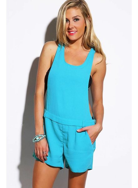 Sky blauwe overal/jumpsuit