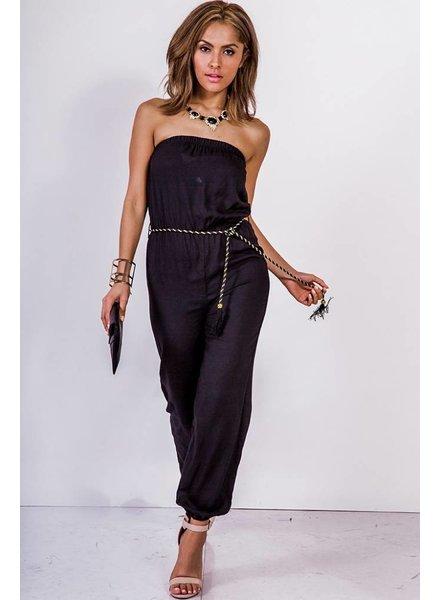 Zwarte strapless jumpsuit