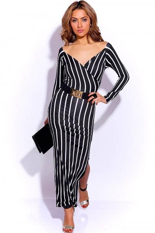 Genoeg Zwart/wit gestreepte maxi dress - ClassyWear #LV03