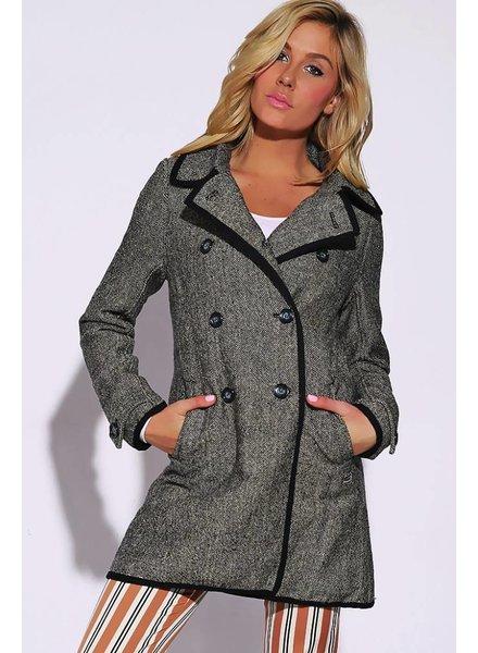 Zwarte tweed jas