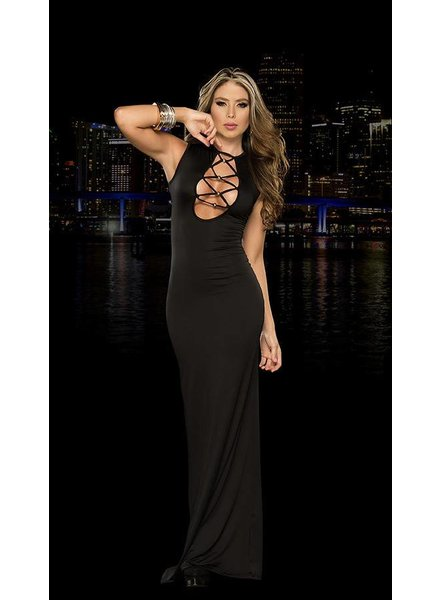 Espiral Lingerie Zwarte lange open jurk