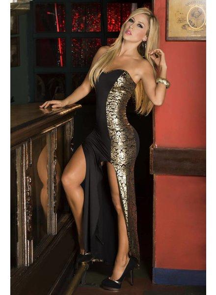 Espiral Lingerie Lange strapless jurk zwart/goud