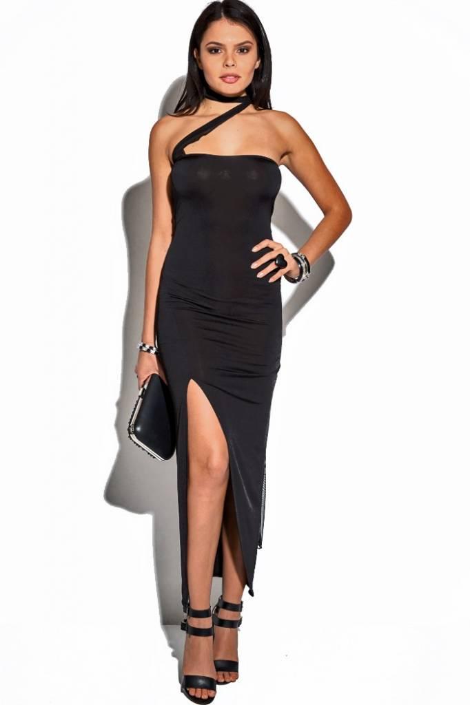 Genoeg Lange zwarte jurk met split - ClassyWear SX17