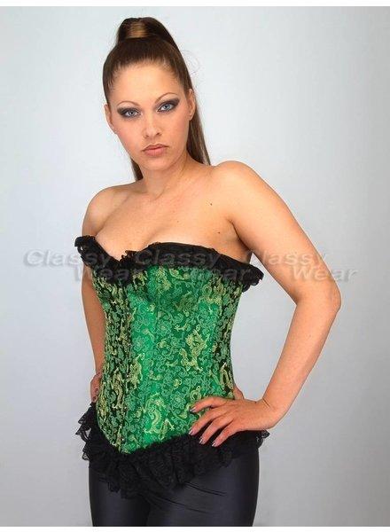 Groen burlesque corset met gouden opdruk