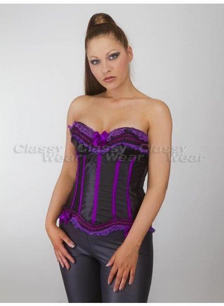 Zwart boned corset met paars detail en strik