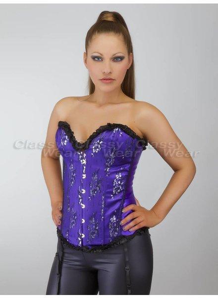 Paars overbust corset met zwart motief