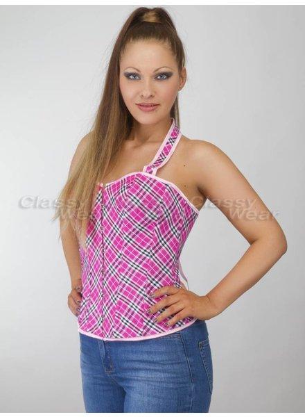 Roze geruit corset met halter