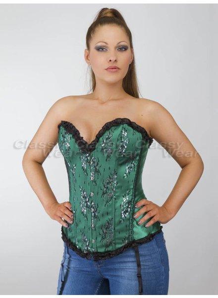 Groen overbust corset met zwart motief