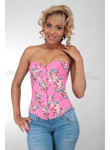 Roze denim corset met bloemenprint