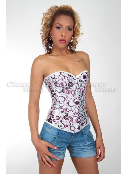 Sexy wit glimmend corset met bolletjes patroon