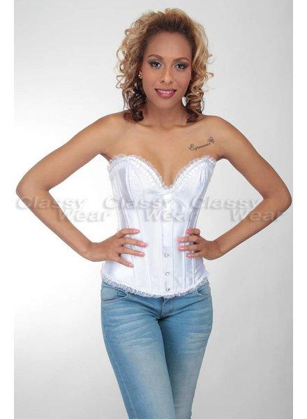 Wit corset met strik en strass steentjes