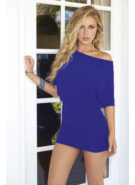 Espiral Lingerie Blauw gerimpeld jurkje met open schouder