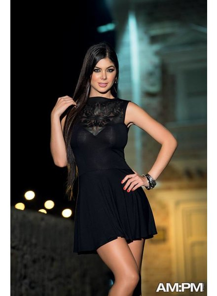 Espiral Lingerie Zwart jurkje met licht doorschijnende bovenkant