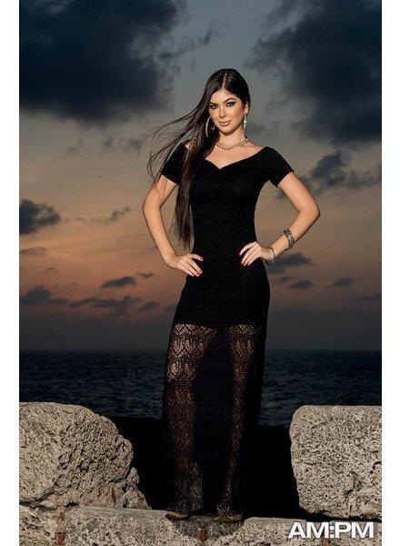 Espiral Lingerie Lange jurk kant zwart