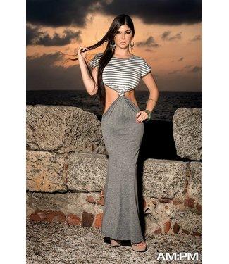 Espiral Lingerie Lange grijze jurk met open delen