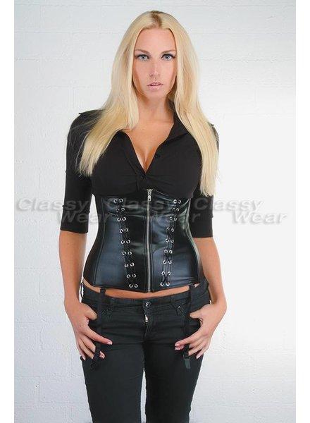 Corsetten Zwart lederlook underbust corset met rits