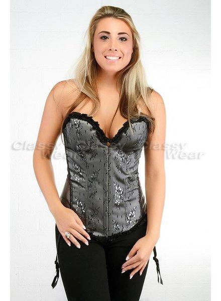 Grijs overbust corset met zwart motief