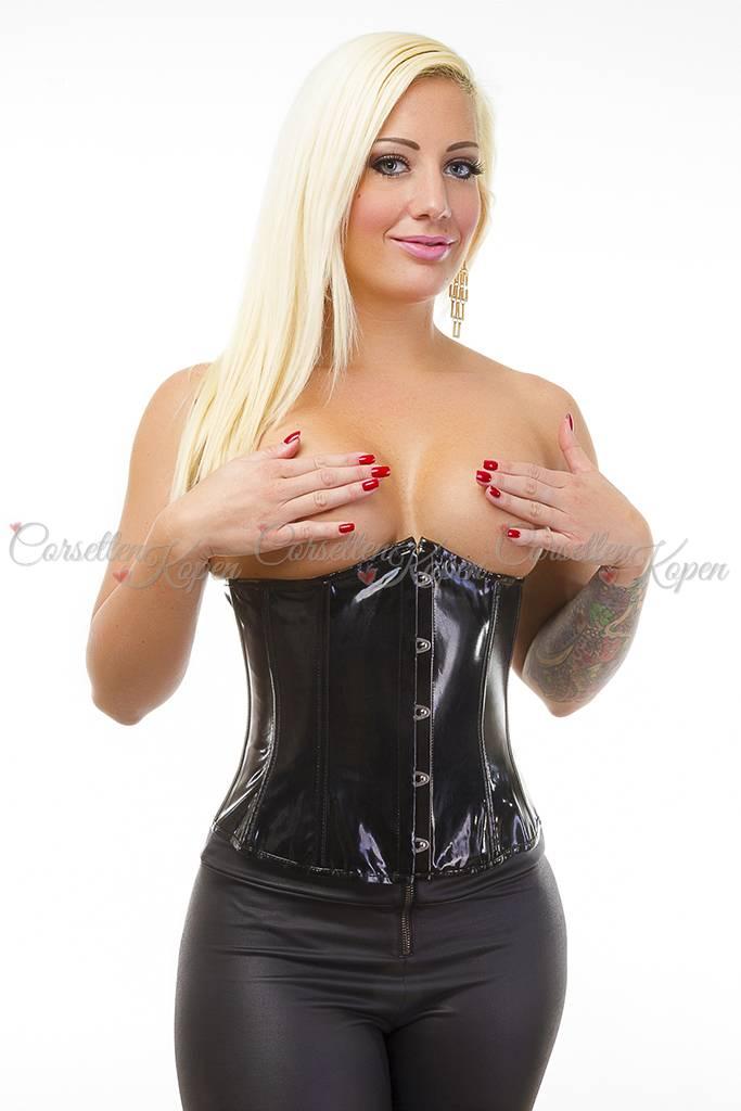 Zwart glimmend pvc underbust corset