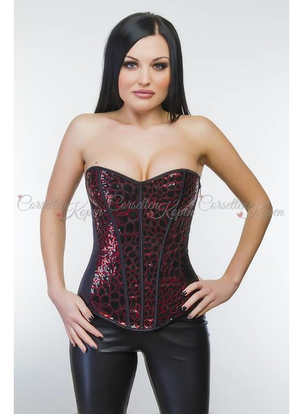 Corsetten Pailletten corset zwart/rood