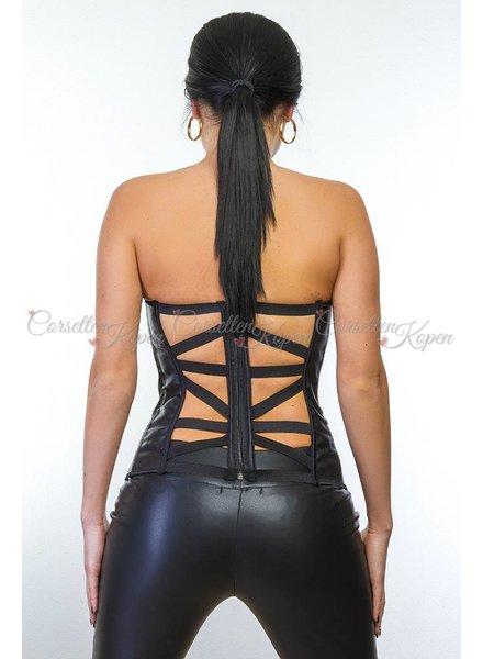 Corsetten Leatherlook corset met open rug