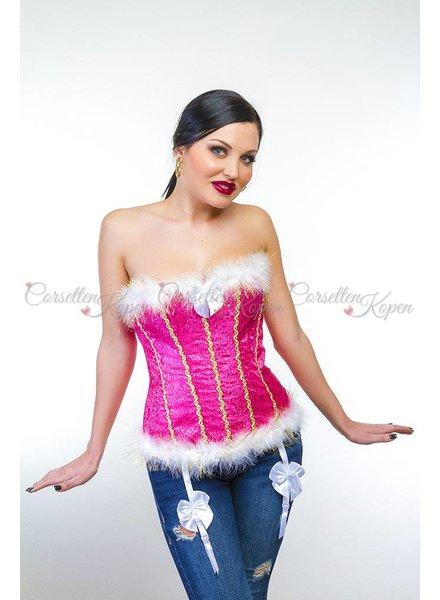Roze corset met barokprint