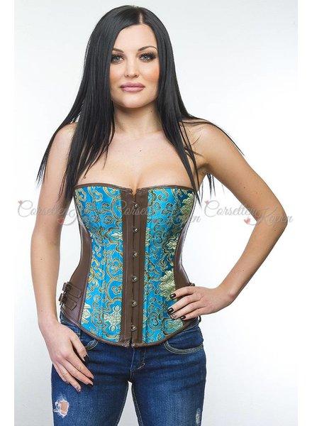 Blauw corset met barokprint