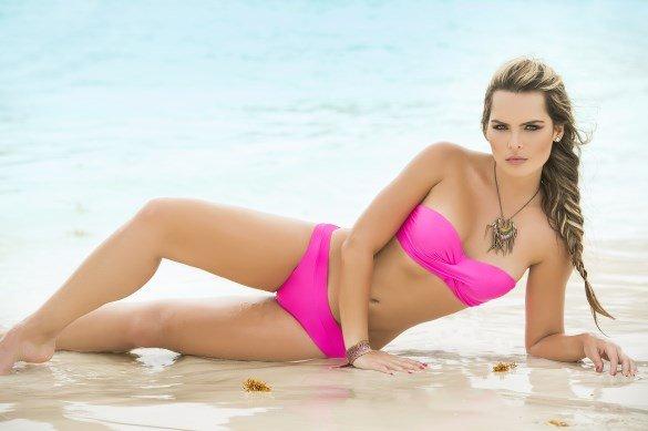 Espiral Lingerie Bandeau bikini neon pink