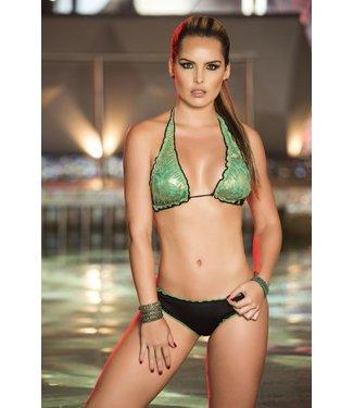 Espiral Lingerie Halter bikini zwart/groen