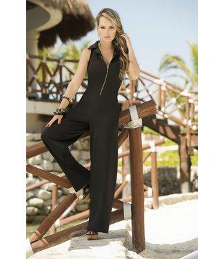 Espiral Lingerie Zwarte jumpsuit met rits