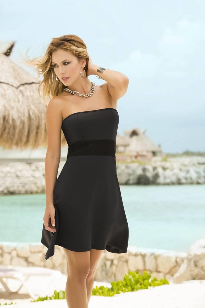 Lange strapless jurk zwart