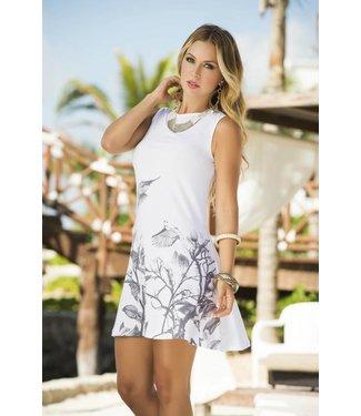 Espiral Lingerie Wit jurkje met grijze print